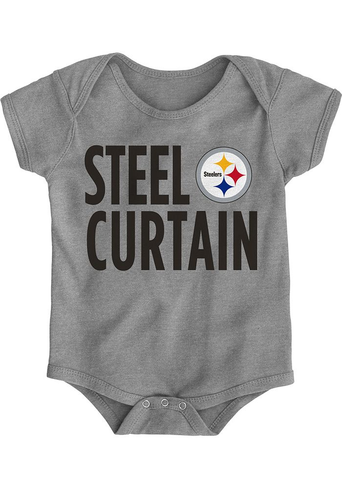 Pittsburgh Steelers Baby Grey Steel Curtain Short Sleeve One Piece - Image 1 113d15a86
