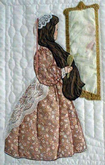 Mujer antigua espejo melena