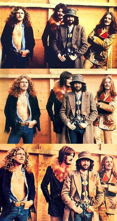 Robert Plant, John Bonham, Jimmy Page e John Paul Jones em 1977, durante a turnê do Led Zeppelin pelos EUA