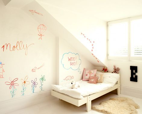 How cool to paint your kid's room with paint that turns your walls into a whiteboard!