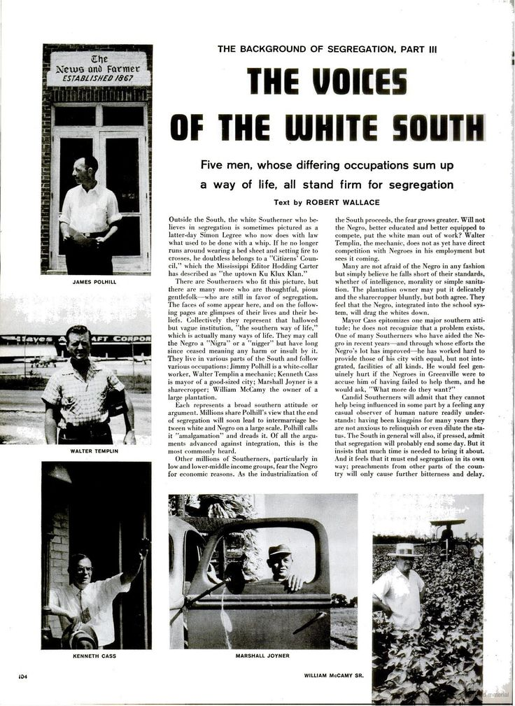 """LIFE magazine, 17 Sept. 1956, """"Background to Segregation Part III: The voices of the white south"""", p. 104."""