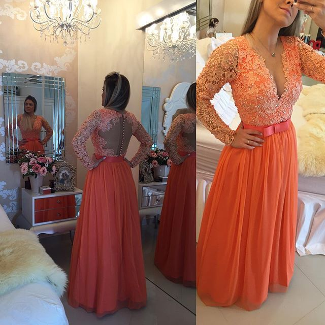Find More Prom Dresses Information about Orange Long Sleeve Prom Dresses 2016 V Neck Pearls Lace Evening Gowns Chiffon Sexy Backless Prom Party Dress Vestido formatura,High Quality dress magic,China dresse Suppliers, Cheap dress patterns prom dresses from xlbutterfly on Aliexpress.com