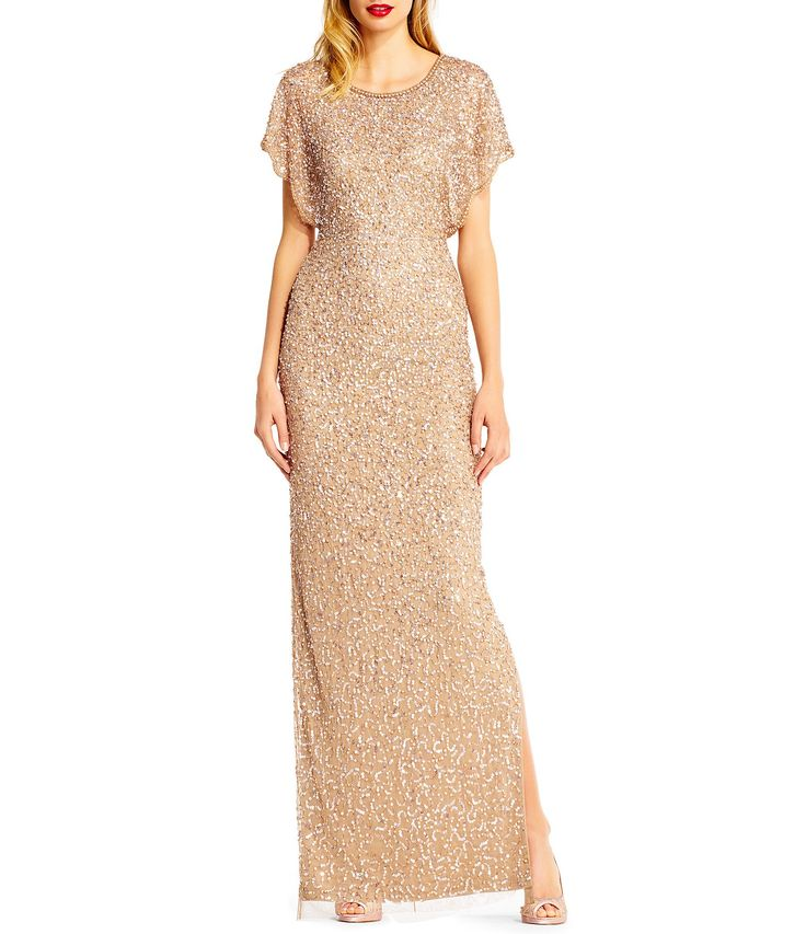Adrianna Papell Beaded Flutter Sleeve Gown #Dillards