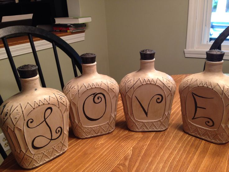 Crown Royal bottles painted with Americana decor chalk paint