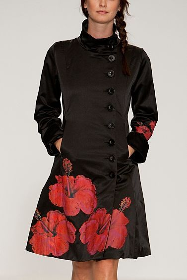 What a wonderful coat, with the huge hibiscus flowers. I get an oriental feel with all of the buttons to the left of the coat. Which for me, I really like. The colors, are great, bright corals against black. I truly love this coat !!!!!