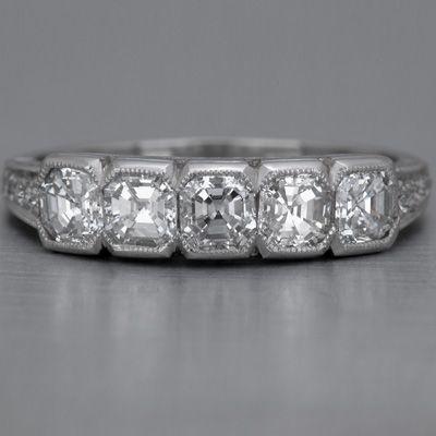 Art Deco Wedding Band with Asscher-cut Diamonds