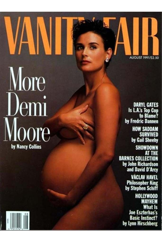 """Five years before her topless turn in """"Striptease,"""" a pregnant Demi Moore bared it all for the August 1991 cover of Vanity Fair. (NSFW) [Courtesy Photo]"""