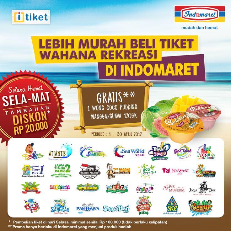Lebih Mudah beli tiket Wahana Rekreasi di INDOMARET. GRATIS 1 Wong Coco Puding Mangga/Guava 120gr  s/d 30 April 2017. Dapatkan tambahan DISKON Rp 20.000 untuk pembelian di Hari Selasa.