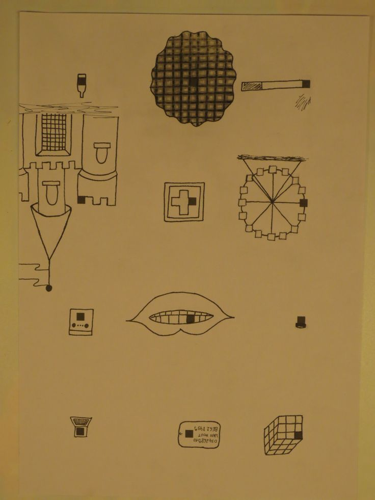 Rubik's kubus - creditcard - laptop - bloempot - tand - oven - reuzenrad - EHBO verwijzing - kasteel - sigaret - stroopwafel - wijnfles