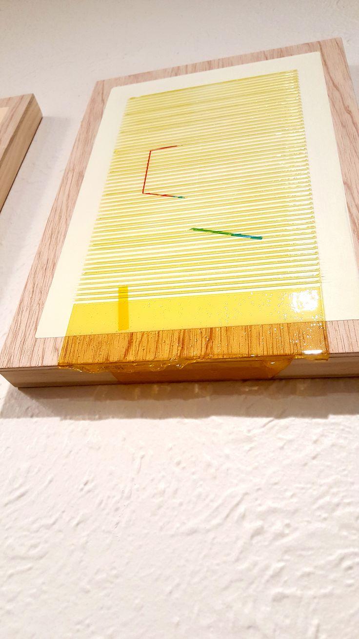Nathan Suniula, 'Yellow blue hue' (detail), acrylic on ply wood panel, 2016