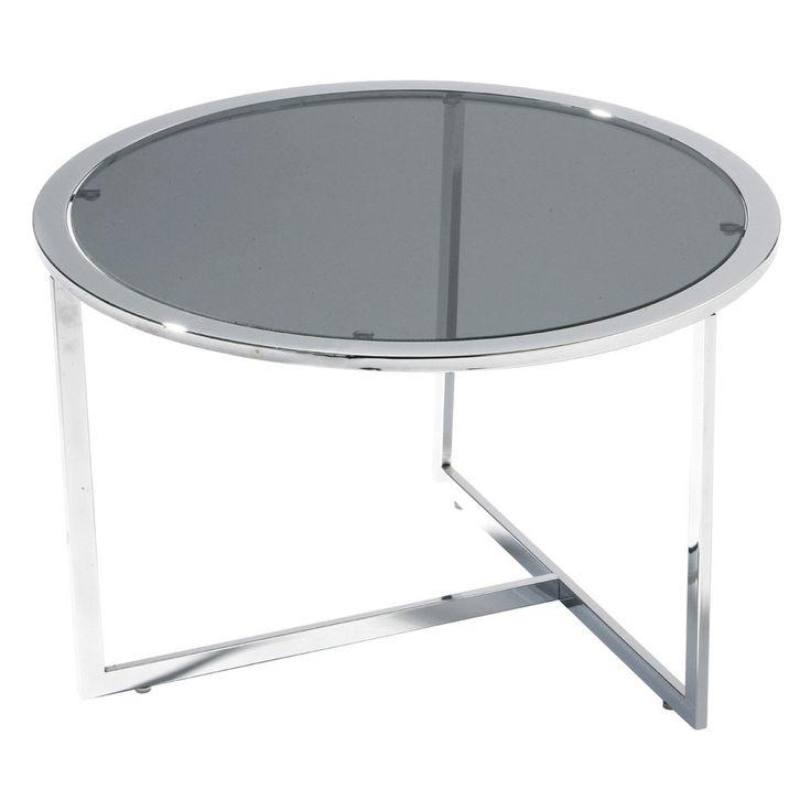 Table, Black Tempered Glass, Chrome Finish Frame