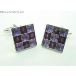 Purple & Mauve Check Cufflinks - This is a very stylish set of cufflinks which looks great on a plain white shirt as the colours are accentuated.