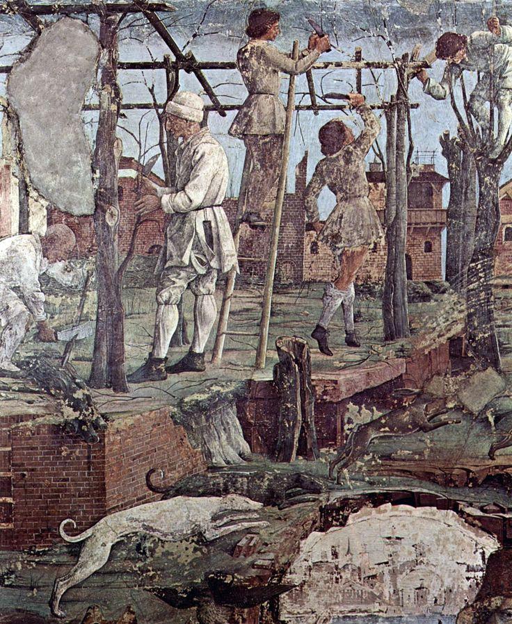 Francesco del Cossa Contadini che lavorano i campi, con il costume di Zanni