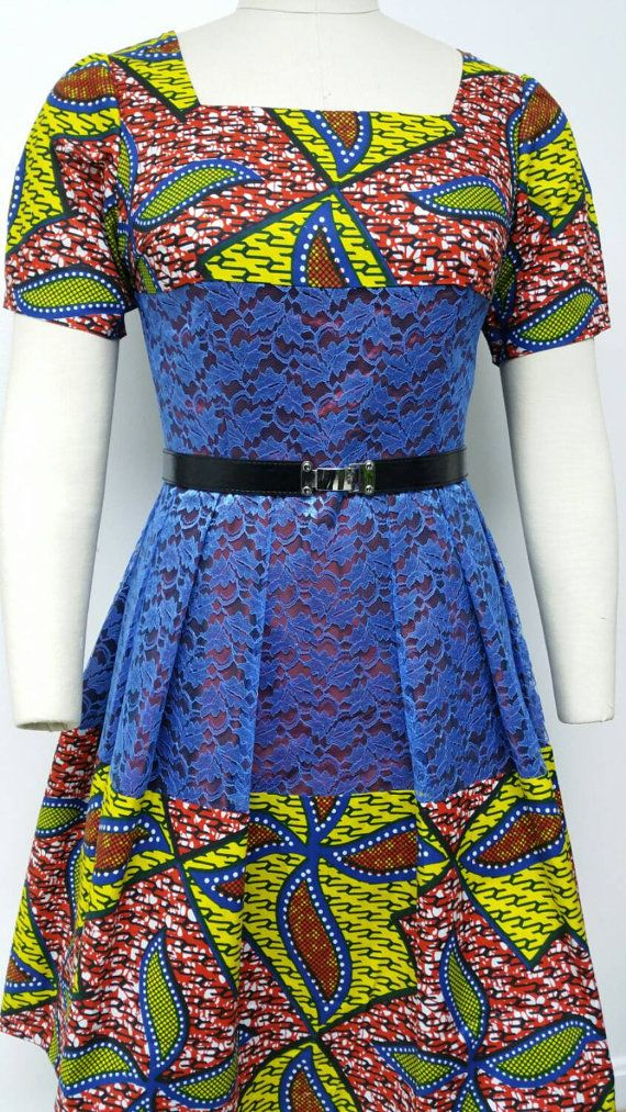 Dutch wax and lace fitted waistline dress by NanayahStudio on Etsy  ~African fashion, Ankara, kitenge, African women dresses, African prints, Braids, Nigerian wedding, Ghanaian fashion, African wedding ~DKK