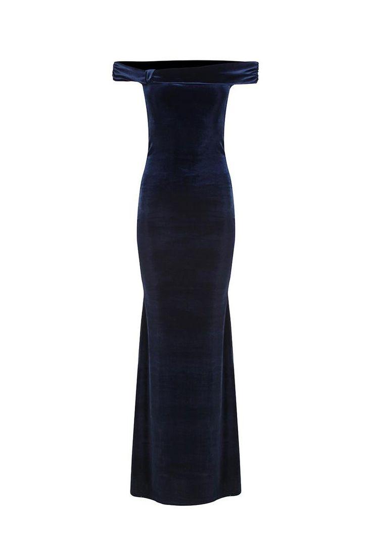 Navy Blue Velour Bardot Neck Maxi Dress