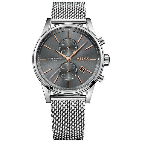 Buy Hugo Boss 1513440 Men's Jet Chronograph Date Mesh Bracelet Strap Watch, Silver/Slate Online at johnlewis.com