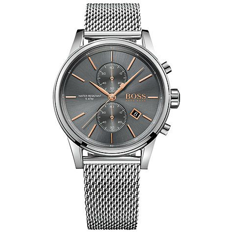Buy Hugo Boss 1513440 Men's Jet Chronograph Date Mesh Bracelet Strap Watch, Silver/Slate Online at johnlewis.com