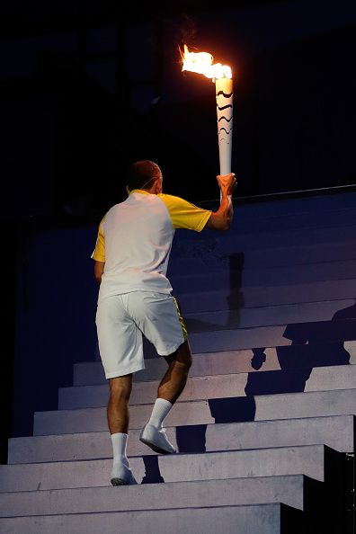 #RIO2016 Former athlete Vanderlei de Lima carries the Olympic Torch during the Opening Ceremony of the Rio 2016 Olympic Games at Maracana Stadium on August 5...