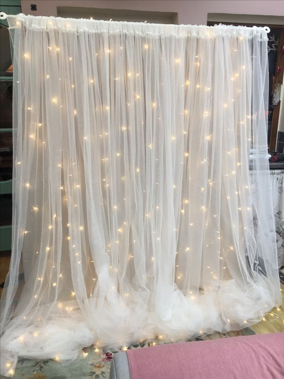 sheer background with LED lights