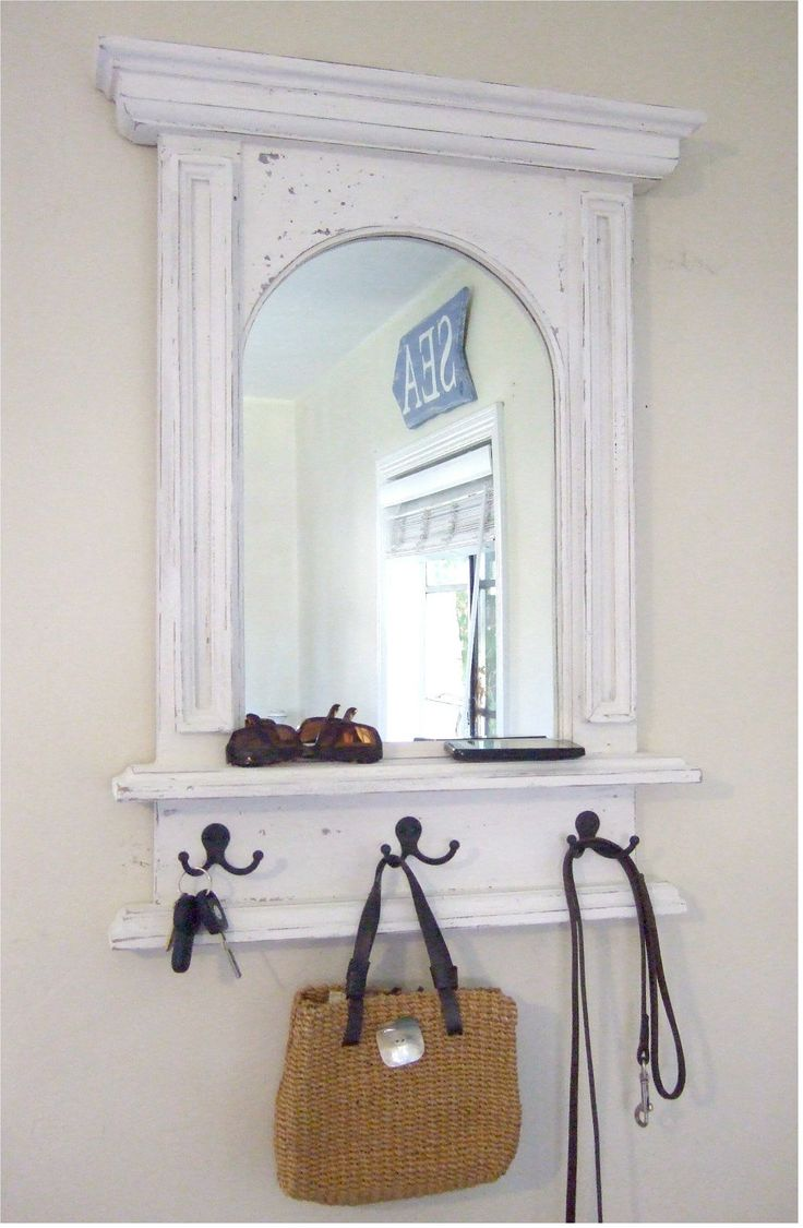 Best 25 mirror with shelf ideas on pinterest diy furniture the white arch mirror with shelf hooks french architectural design amipublicfo Gallery