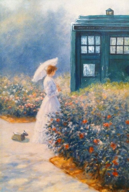 Woman and TARDIS in garden by csgirl