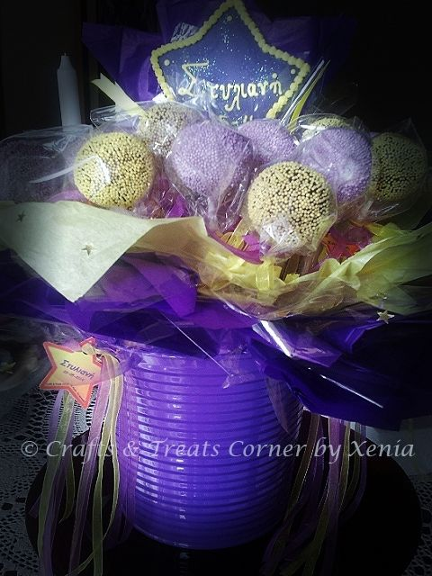 #christening cake pops & pops arrangements by Crafts & Treats Corner by Xenia