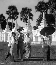 H.G Ponting in Asia 1900 - 1906. Burma. Native Burmese girls in traditional…
