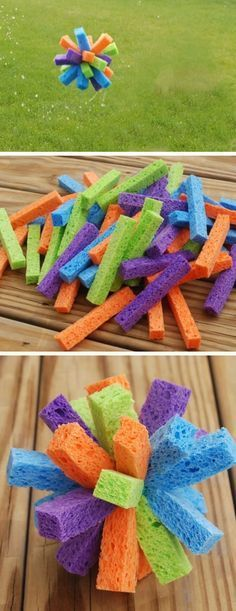 Sponge Water Bombs   Click Pic for 19 DIY Summer Crafts for Kids to Make   Easy Summer Activities for Kids Outside