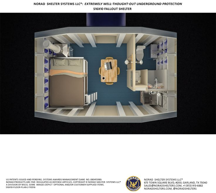 S16x10 bomb shelter view from above floor plan fallout for Survival home plans