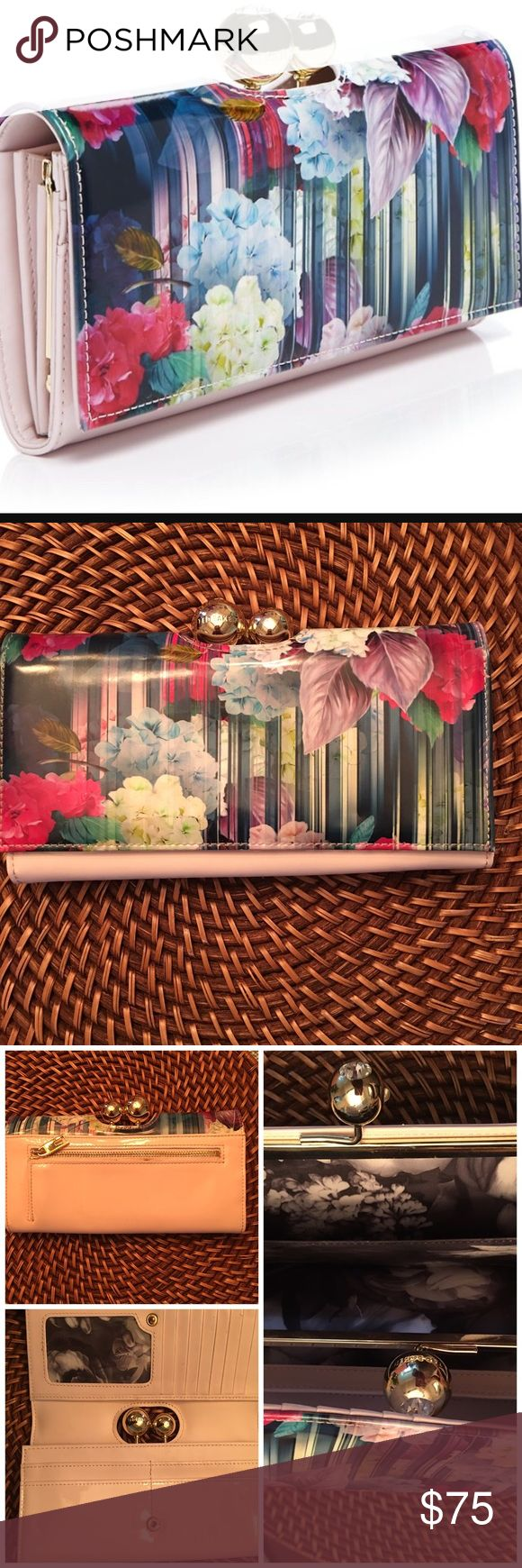 Ted baker  catlian hydrangea wallet reduced A gleaming kiss-clasp set with crystals highlights a patentleathermatinee wallet featuring a lush floral print-so pretty, you'll want to carry it as a chic clutch, too. 3 flaws 1. Stain by the zipper 2. L shape spot idk were it came from could of been from storage and 3 light pilling from taking cards out inside looks great if you need more pic let me known Ted Baker Bags Wallets