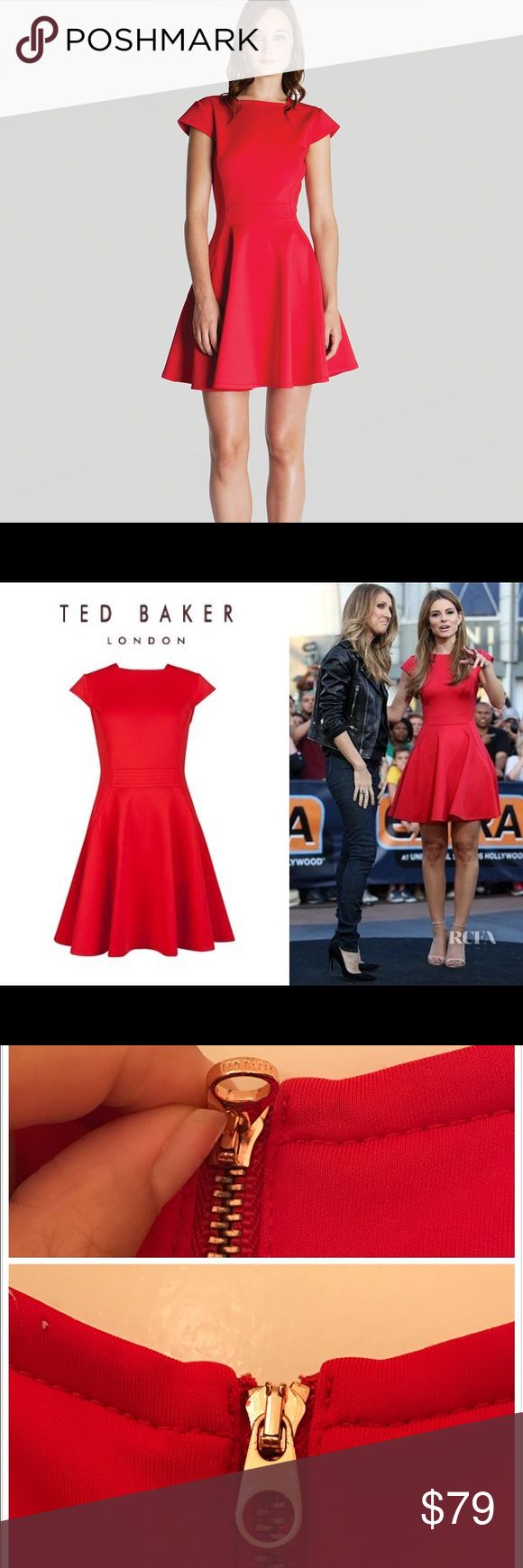 Ted Baker Red dress Very beautiful red dress from Ted Baker, I only wore it 2-3 times. It's a U.K. Size 2, so it good for US size 4-6. The inside of zipper head has a little black mental stain, but the outside it's perfect, comes with the original dust bag Ted Baker Dresses