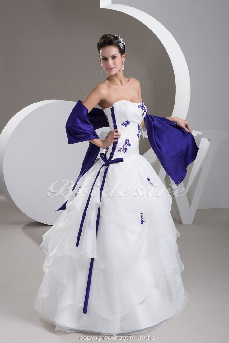 Wedding Dress From Bridesire - Balkjole Stropløs Gulvlængde Ærmeløs Satin Organza Brudekjole [BDH1509] - DKK1,365.07.  http://www.bridesire.dk/balkjole-stroploes-gulvlaengde-aermeloes-satin-organza-brudekjole-p-6288.html
