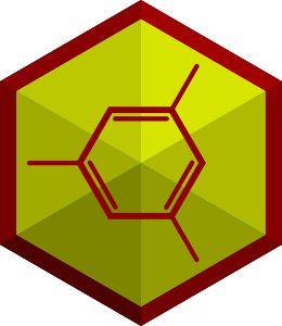 Icon zu Chemiebaukasten. Rote Molekülstruktur auf gelben Hintergrund. Skelettformel