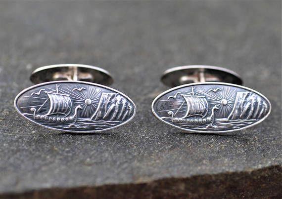Vintage Elvik & Co. Norway. Scenic Silver cufflinks Viking