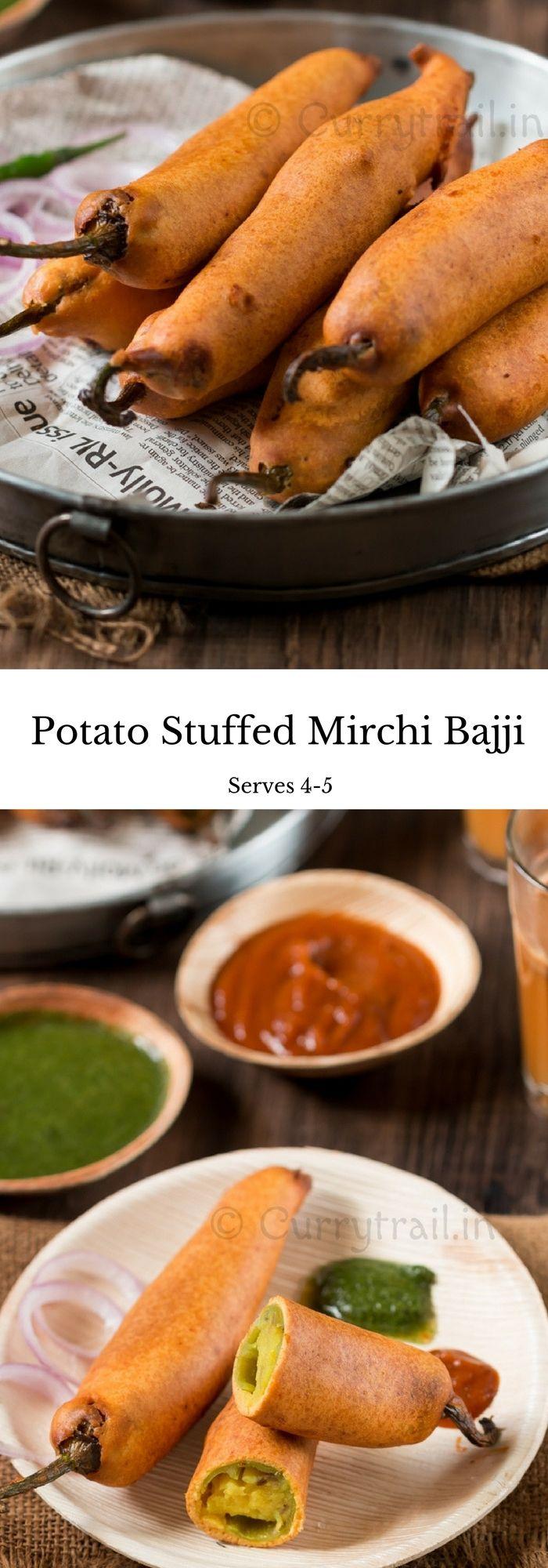 Milagai Bajji | Potato Stuffed Mirchi Bajji | Potato Stuffed Banana Pepper Fritters