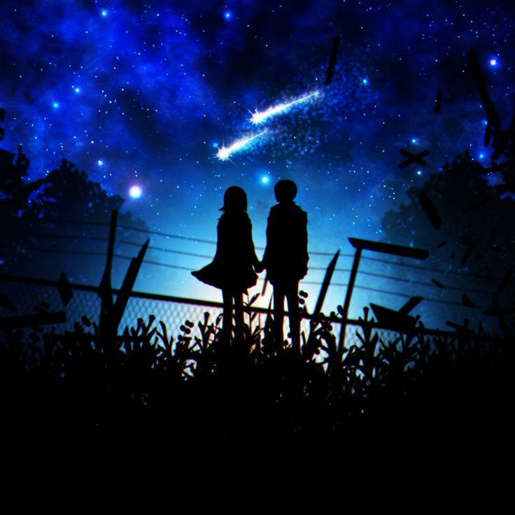 anime girl and anime boy with shooting stars
