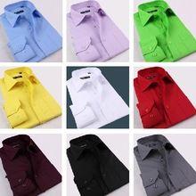 nueva alta calidad de colores camisas de hombre delgado cut hombres con estilo ropa de gran tamaño hombres camisas de vestir camisa de color puro blanco rojo