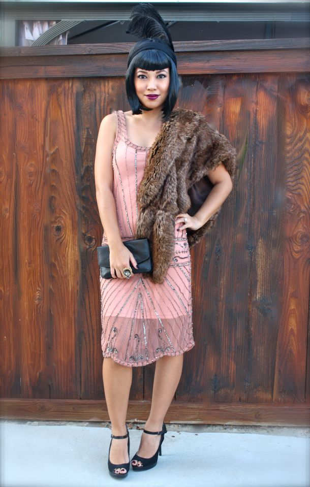 The gatsby dress c o electric frenchie forever21 faux fur stole