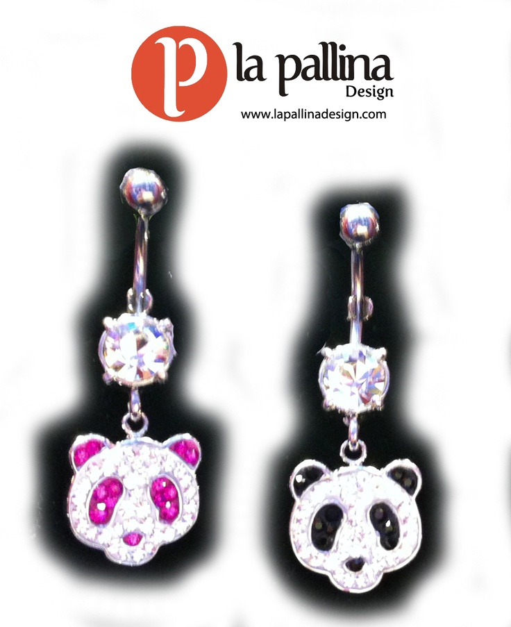 Piercing ombelico: panda in acciaio con strass  Belly button / navel piercing: panda in surgical steel with rhinestones