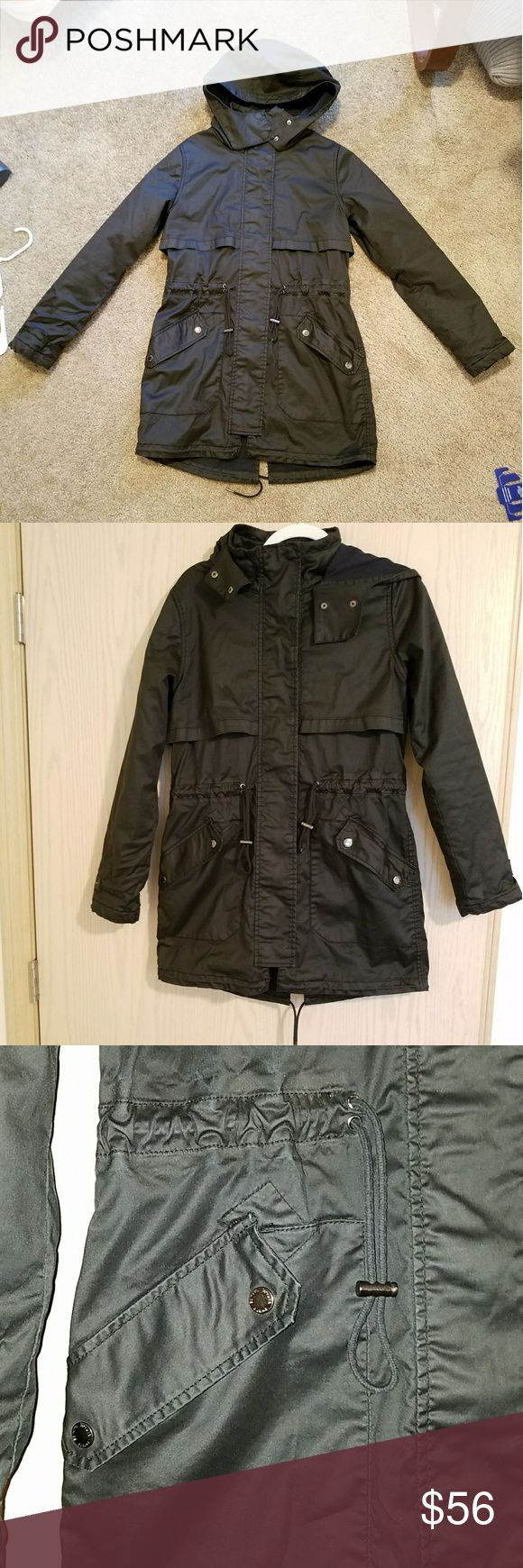 Garage black waterproof trench coat/jacket Had a removable vest insert, no longer available. No tags, size Small. Garage brand. Very warm!! Worn only a couple times. See pictures or message me for more details! Garage Jackets & Coats