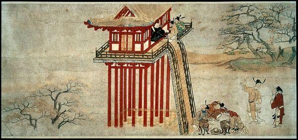 """104. Rotolo delle """"Avventure del ministro Kibi in Cina"""" (Kibi Daijin Nitto emaki), fine del XII – inizio del XIII secolo. Inchiostro e colore su carta, particolare (h. cm. 32,2). Boston, Museum of Fine Arts."""
