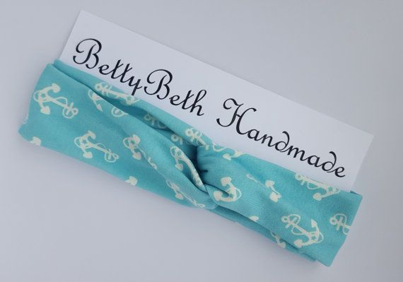 Blue Anchor Headband. Summer Headband. by BettyBethHandmade