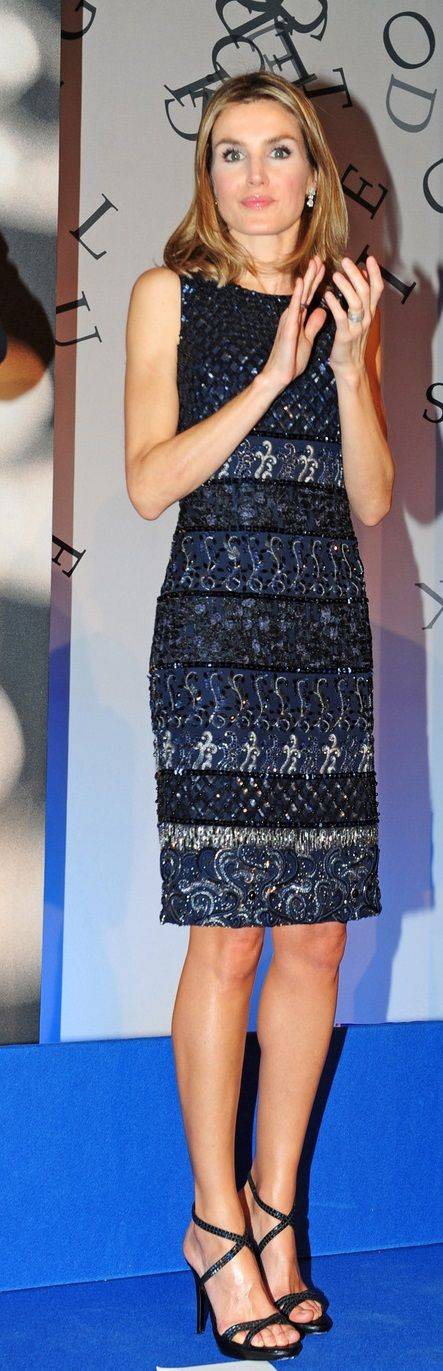 Letizia in Felipe Varela-What a difference hair makes. (not the same color).q