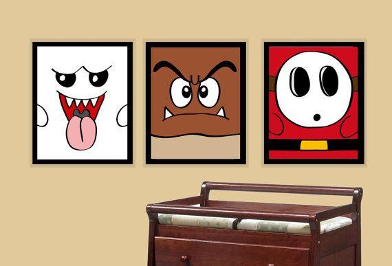 Nintendo Super Mario Brothers Goomba, Shy Guy, and Ghost Prints - Children Nursery Art