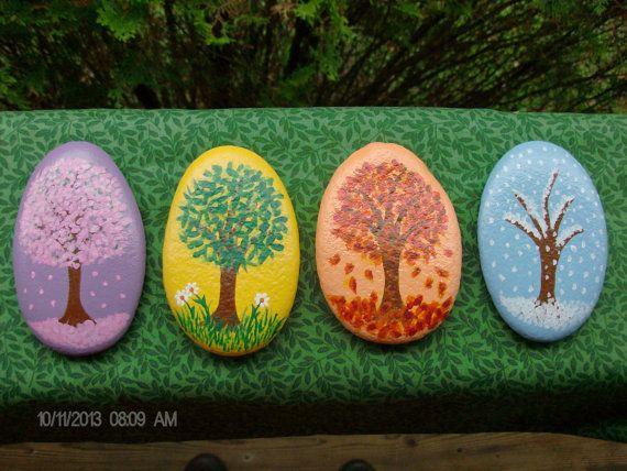 Set de piedras de árbol cuatro estaciones por RocknGoddess en Etsy