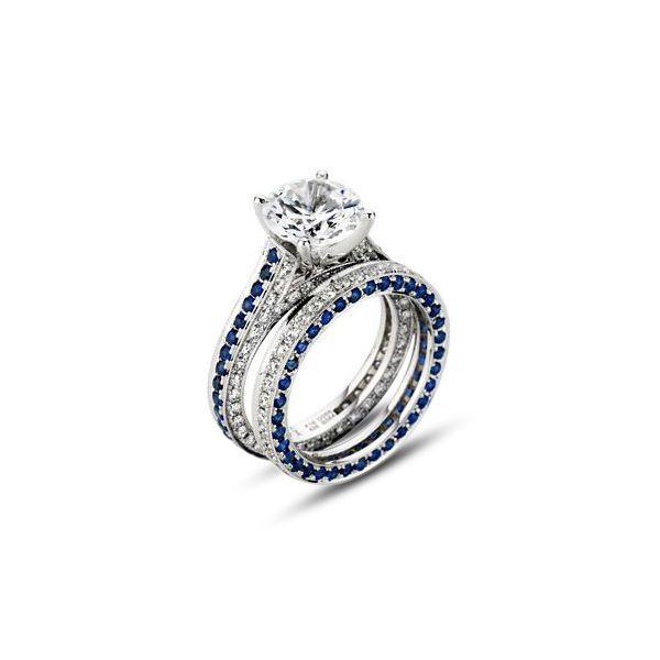 14K White Gp 925 Silver Round Sim Diamond Engagement Bridal Ring Set For Women's #br925 #BridalRingSet