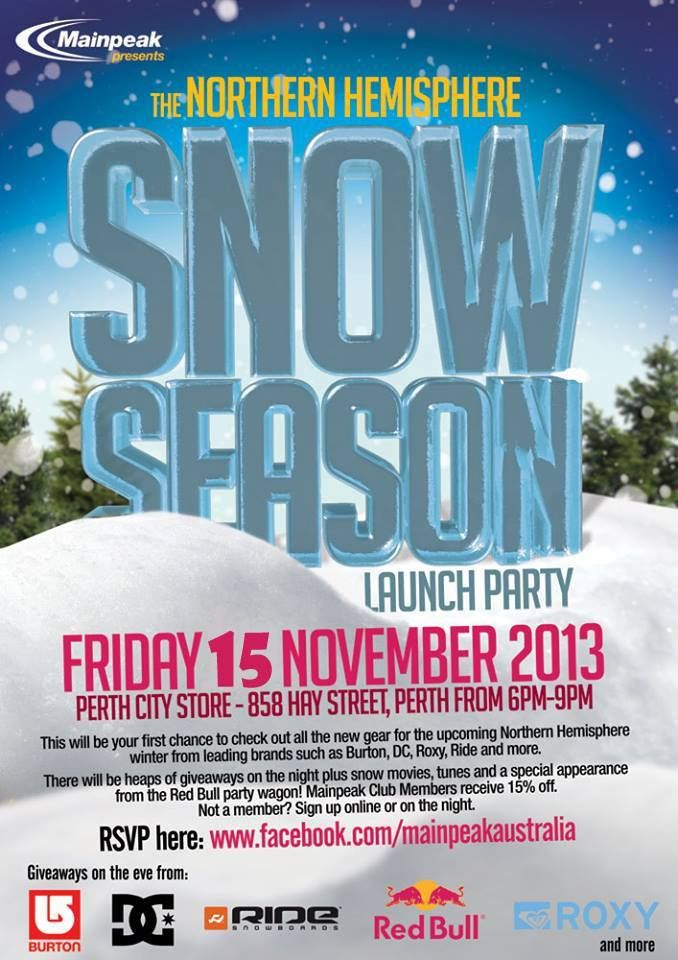 This will be your first chance to check out all the new gear for the upcoming Northern Hemisphere winter from leading brands such as Burton, DC, Roxy, Ride and more. There will be heaps of giveaways on the night plus snow movies, tunes and a special appearance from the Red Bull party wagon! Discounts will be available to members and non-members on the eve. GET EXCITED!
