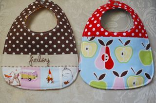 adorable bib pattern.  Fun sewing Blog too.  Going Sew Crazy.