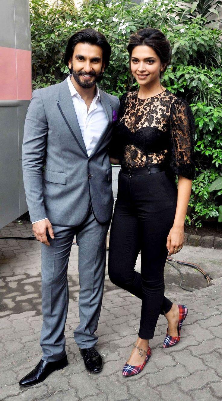 Ranveer Singh & Deepika Padukone during 'Ram-Leela' promotions. #Bollywood #Fashion #Style #Beauty