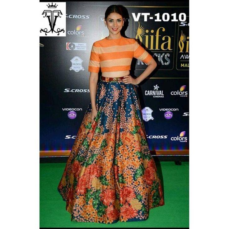 Bollywood Replica - Aditi Rao Hydari In Multi-Colour Crop Top Lehnega - VT-1010